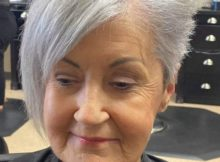 Edgy Gray Pixie Cut With Long Bangs For Over 70 Jpg